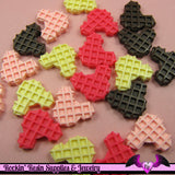 5 pieces MOUSE HEAD WAFFLE  Resin Decoden Flatback Cabochon - Rockin Resin  - 3