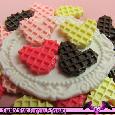 5 pieces MOUSE HEAD WAFFLE  Resin Decoden Flatback Cabochon - Rockin Resin  - 1