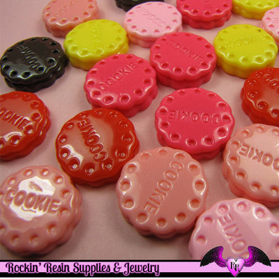 6 pieces COOKIES Sweets Kawaii Resin Flatback Cabochon 20mm - Rockin Resin  - 1