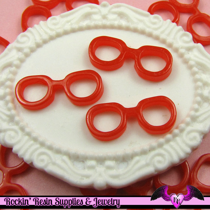 10 pcs Geeky RED EYE GLASSES Decoden Resin Flatback Cabochon 19x8mm