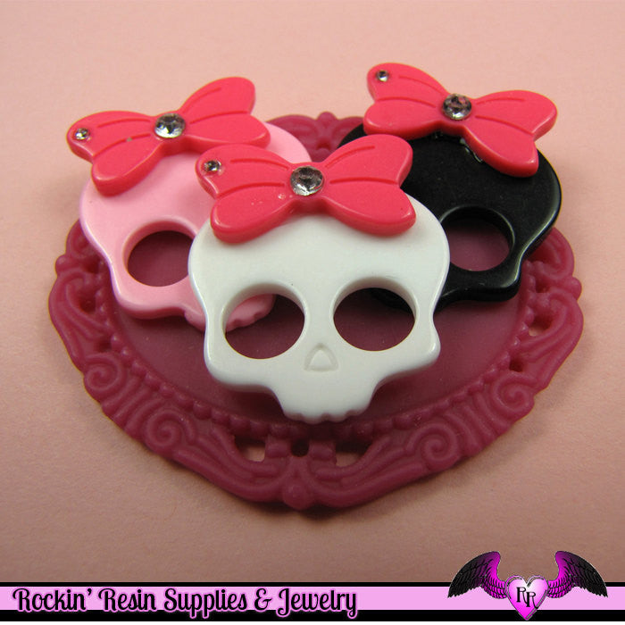 4 Pcs SKULL HEAD with BOW and Crystals  Decoden Kawaii Flatback Resin Cabochons