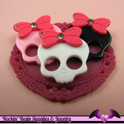 4 Pcs SKULL HEAD with BOW and Crystals  Decoden Kawaii Flatback Resin Cabochons - Rockin Resin  - 1