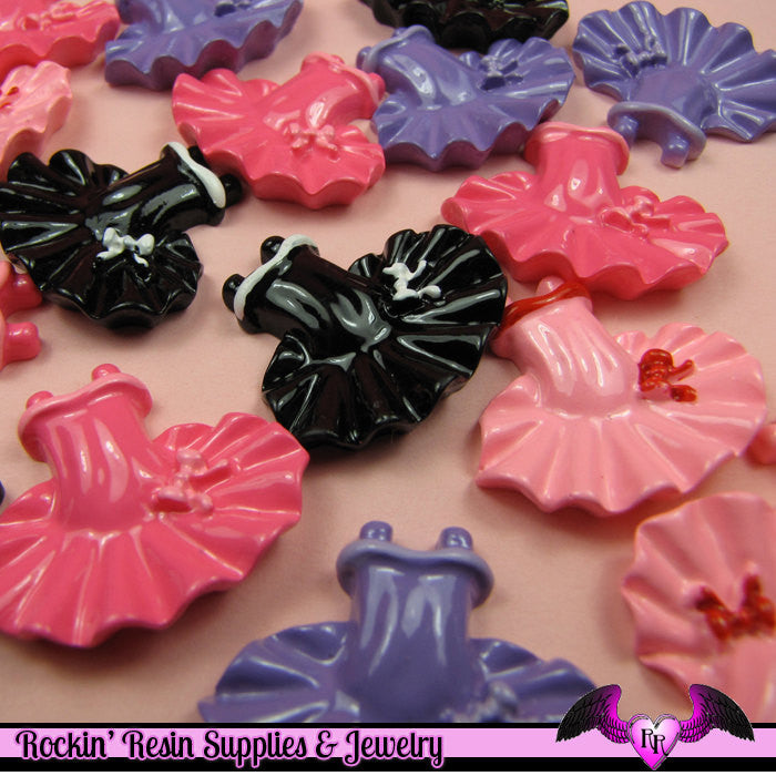 4 Pcs BALLERINA BALLET TUTU  Decoden Kawaii Flatback Resin Cabochons 25x30mm - Rockin Resin  - 1
