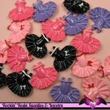 4 Pcs BALLERINA BALLET TUTU  Decoden Kawaii Flatback Resin Cabochons 25x30mm - Rockin Resin  - 4