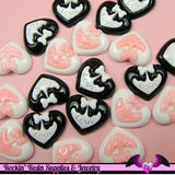 5 Pcs Sweet LOVE HEART with BOW  Decoden Kawaii Flatback Resin Cabochons 19x16mm - Rockin Resin  - 2