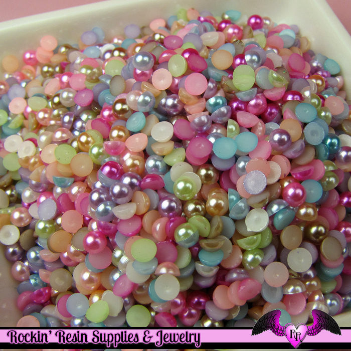 200 pcs 4 mm Bright Pastel Mix HALF PEARL Flatbacks for Decoden Projects - Rockin Resin  - 1