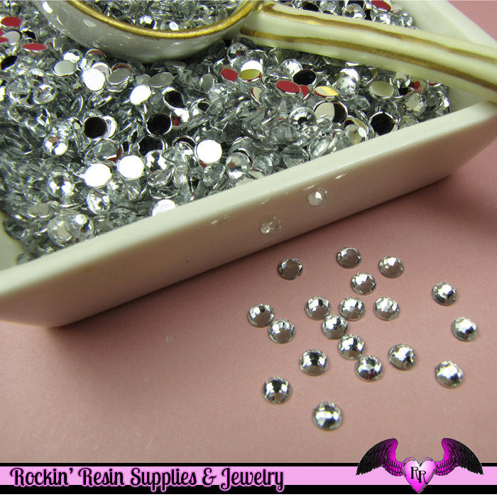 200 pcs 4mm CLEAR MIRROR RHINESTONES Flatback Great Quality 16ss - Rockin Resin  - 1