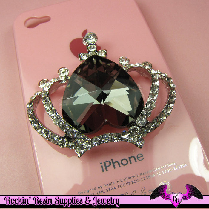 3D CROWN with Crystals for your Cell phone Decoden DIY in Grey Black - Rockin Resin  - 1