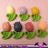 6 TULIP Flowers 27x18mm Resin Flatback Cabochons - Rockin Resin  - 1