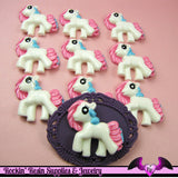 4 pc Pink Blue PONY Flatback Kawaii Cabochon 32x30mm - Rockin Resin  - 2