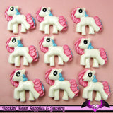 4 pc Pink Blue PONY Flatback Kawaii Cabochon 32x30mm - Rockin Resin  - 3