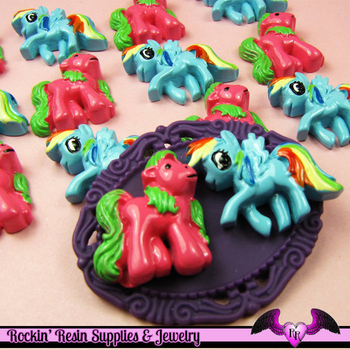 4 pc Pink and Blue PONY PEGASUS set Flatback Resin Kawaii Cabochon
