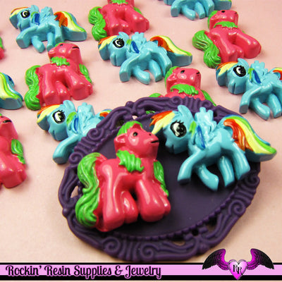4 pc Pink and Blue PONY PEGASUS set Flatback Resin Kawaii Cabochon - Rockin Resin  - 1