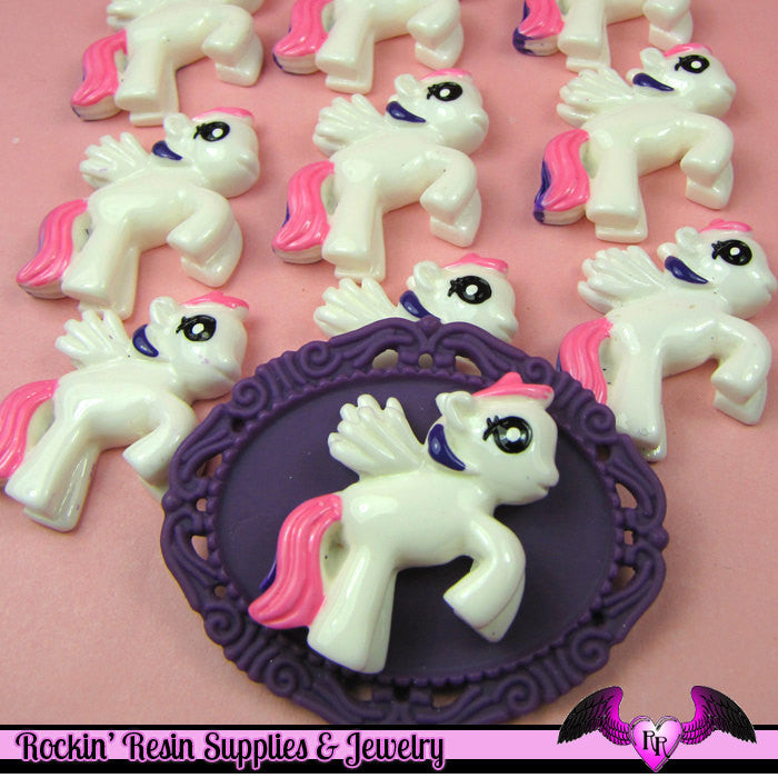 4 pc PEGASUS PONY Purple and Pink Hair Flatback Resin Kawaii Cabochon