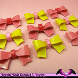 4 pcs PINK and YELLOW BOWS Resin Decoden Cabochons 25 x 15mm - Rockin Resin  - 2