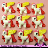 4 pc PEGASUS PONY Yellow Red and Pink Flatback Resin Kawaii Cabochon - Rockin Resin  - 2