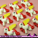 4 pc PEGASUS PONY Yellow Red and Pink Flatback Resin Kawaii Cabochon - Rockin Resin  - 3