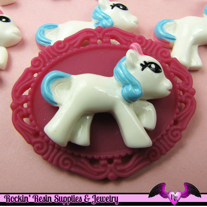 4 pc PONY with PINK and BLUE Hair Flatback Kawaii Cabochon 34x26mm - Rockin Resin  - 1