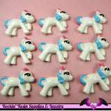 4 pc PONY with PINK and BLUE Hair Flatback Kawaii Cabochon 34x26mm - Rockin Resin  - 2