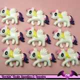 4 pc PEGASUS PONY Yellow Purple and Pink Hair Flatback Resin Kawaii Cabochon - Rockin Resin  - 2