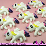 4 pc PEGASUS PONY Yellow Purple and Pink Hair Flatback Resin Kawaii Cabochon - Rockin Resin  - 3