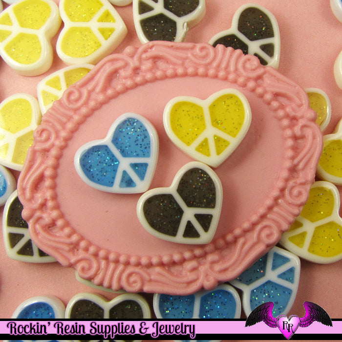 8 pcs Glitter HEART PEACE SIGNS Decoden Flatback Resin Cabochon - Rockin Resin  - 1
