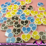 8 pcs Glitter HEART PEACE SIGNS Decoden Flatback Resin Cabochon - Rockin Resin  - 2