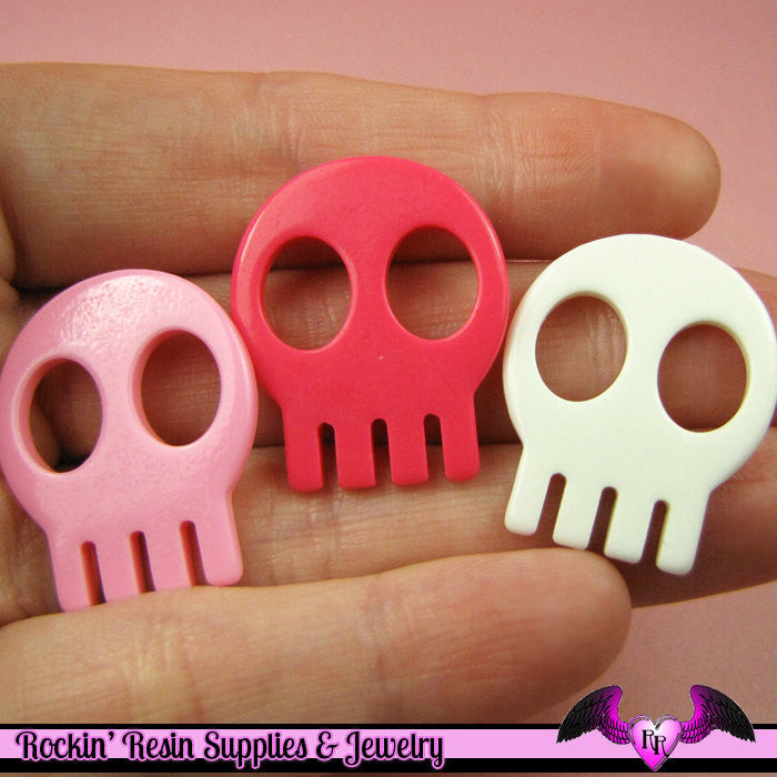 4 Pcs Skull Head Decoden Kawaii Flatback Resin Cabochons 28x23mm