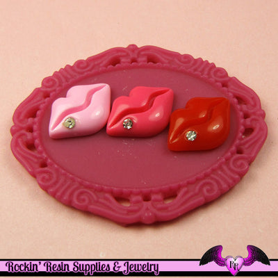 5 pcs small LIPS with CRYSTAL Resin Decoden Flatback Cabochon 17 x 12 mm - Rockin Resin  - 1