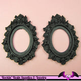2 pcs 30x40mm Flower Resin Cameo Setting in Black - Rockin Resin
