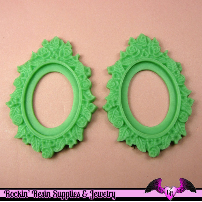 2 pcs 30x40mm Flower Resin CAMEO SETTING Bezel in Jadeite Green