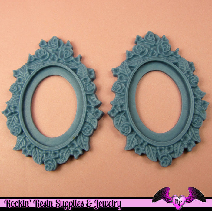 2 pcs 28x38mm Flower Resin CAMEO SETTING Base in Wedgewood Blue