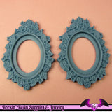 2 pcs 28x38mm Flower Resin CAMEO SETTING Base in Wedgewood Blue - Rockin Resin  - 1
