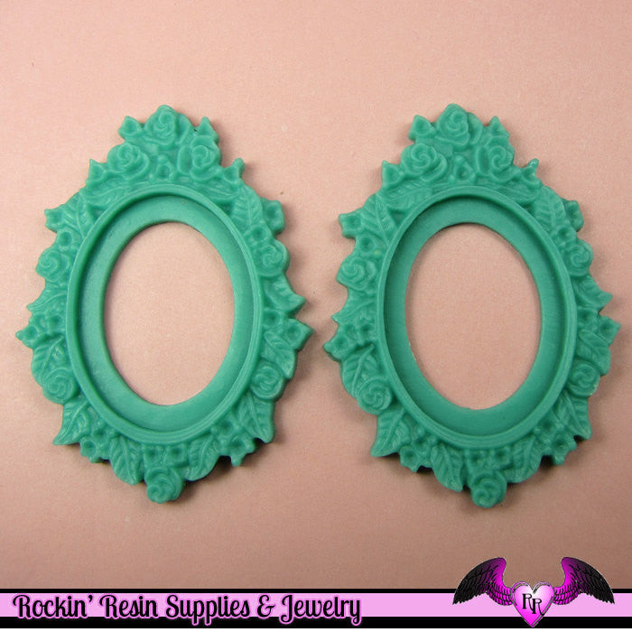 2 pcs 30x40mm Flower Resin CAMEO SETTING Bezel Base in Bright Pastel Blue