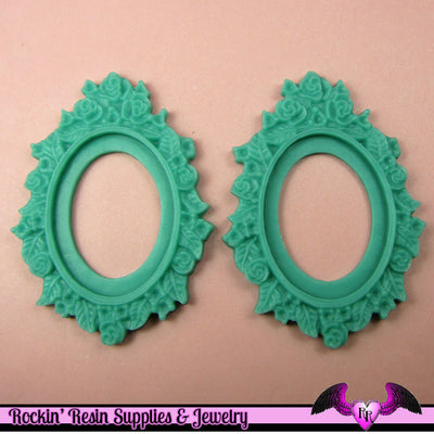 2 pcs 30x40mm Flower Resin CAMEO SETTING Bezel Base in Bright Pastel Blue - Rockin Resin  - 1