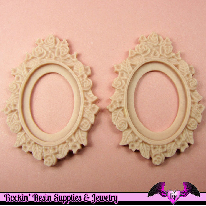 2 pcs 30x40mm Flower Resin CAMEO SETTING Base in Beige Pink