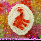 20x Pretty Acrylic PEACOCK Transparent Charms Pendants Mixed Kitsch - Rockin Resin  - 1