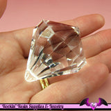 Jumbo Faceted Clear Acrylic DROP CRYSTAL Pendant or Charm Kitsch - Rockin Resin  - 2