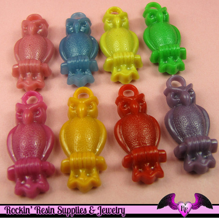 8 pcs OWL CHARMS Colorful Acrylic Mixed Kitsch Charms or Pendants - Rockin Resin  - 1
