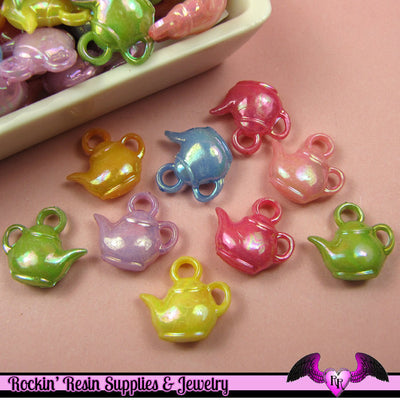 25 pcs TEAPOT AB Mixed Kitsch Acrylic Charms 17mm - Rockin Resin  - 1