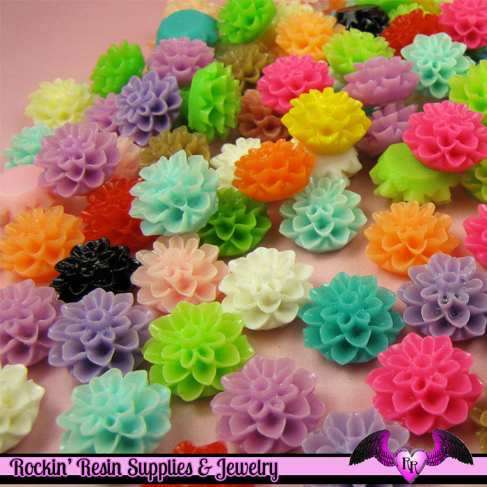 Chrysanthemum 15mm Mum Flower Cabochons Earring Pairs or Mixed Colors