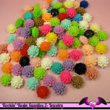 Chrysanthemum 15mm Mum Flower Cabochons Earring Pairs or Mixed Colors - Rockin Resin  - 2