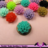 Chrysanthemum 15mm Mum Flower Cabochons Earring Pairs or Mixed Colors - Rockin Resin  - 3