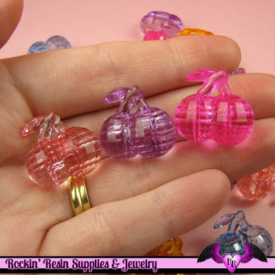 15 pcs Faceted CHERRIES Mixed Kitsch Acrylic Beads or Buttons 21 x 20 mm - Rockin Resin  - 1