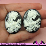 2 pc VICTORIAN ZOMBIE with DOVE Skeleton Black Resin Cameos 30x40mm - Rockin Resin