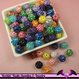 5 Basketball Wives Mixed Spacer Resin Rhinestone Beads Pave Beads 12mm - Rockin Resin  - 3