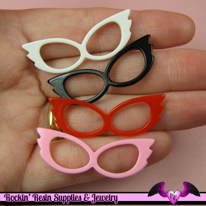 4 pcs CAT EYE GLASSES for Decoden Resin Flatback Cabochon 14x42mm - Rockin Resin  - 1
