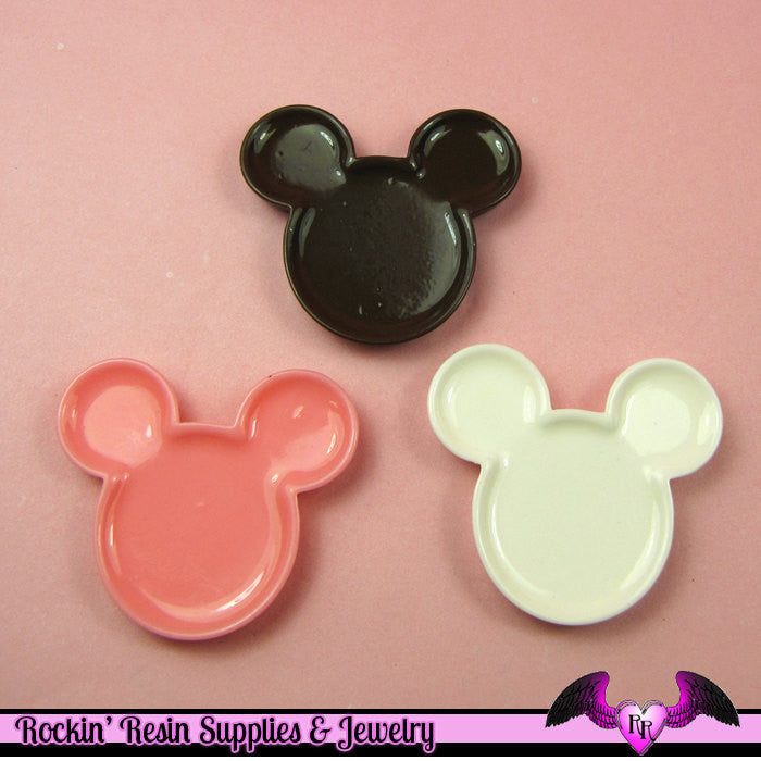 4 pc Miniature DECODEN PLATES Mouse Head Flatback Kawaii Cabochons 38 x 34 mm - Rockin Resin  - 1