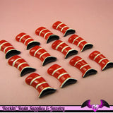4 pc FUNKY Wonky Red Top Hat  Kawaii Flatback Decoden Cabochon 23 x 15mm - Rockin Resin  - 3