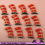 4 pc FUNKY Wonky Red Top Hat  Kawaii Flatback Decoden Cabochon 23 x 15mm - Rockin Resin  - 2